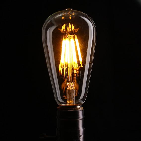 Kit 2 Lâmpadas Vintage Edison 8w Filamento Led Gold St64