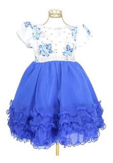Vestido Festa Infantil Luxo Floral Brilho Azul Branco-mb1597
