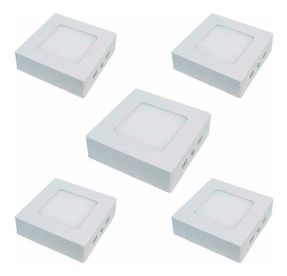 Kit 5 Painel Plafon Led Quadrado Sobrepor 6w Branco Frio