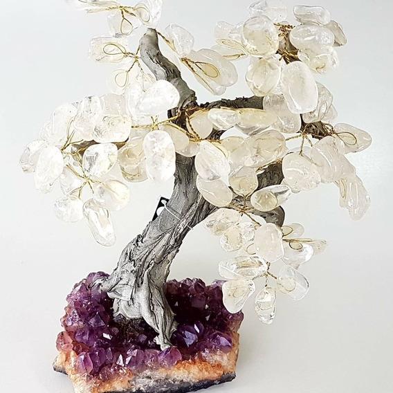 Árvore De Pedra 26cm Folhas De Cristal E Base De Ametista