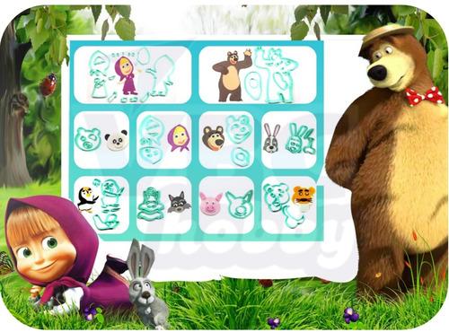 Kit 17 Cortadores Masha E O Urso + Cenário