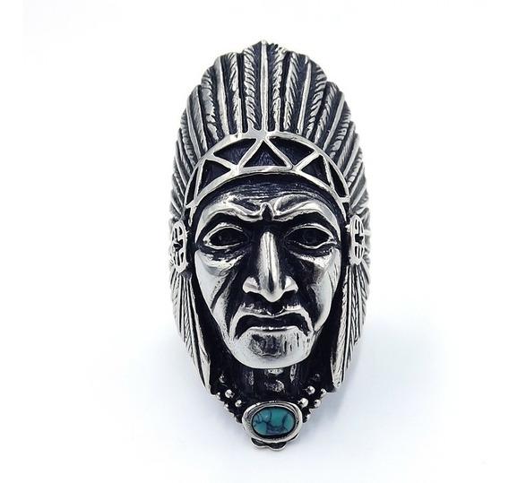 Anillo De Hombre Rosto Jefe Apache Con Turquesa