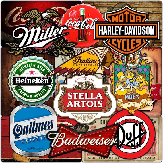 Kit 8 Quadros Decorativos Mdf 6mm Pub Cerveja Coca Bebidas