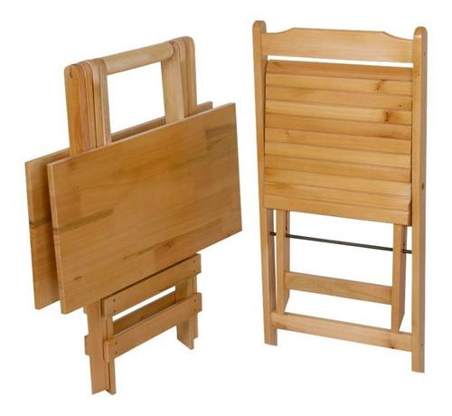 Mesa Dobrável Com 4 Cadeiras 70 X 70 Em Madeira De Eucalipto