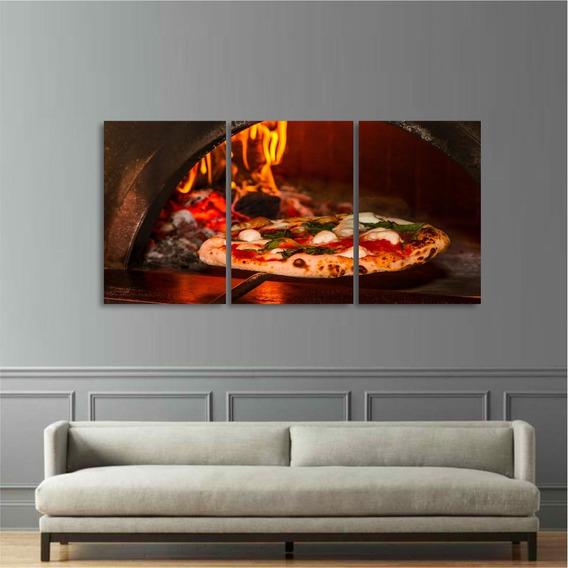 Quadro Decorativo Pizza No Forno Para Pizzarias 3 Telas