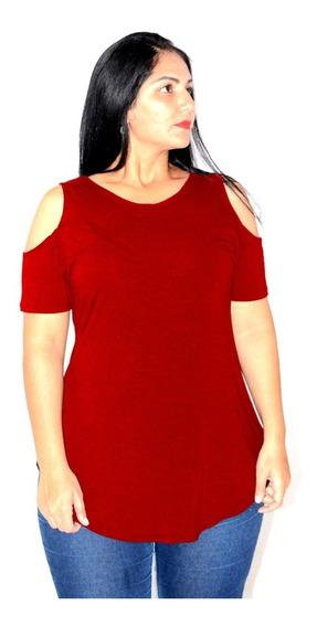 Blusa Feminina Com Decote No Ombro Top Plus Size