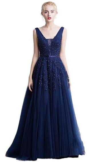 Vestido Largo Azul Fiesta Elegante Encaje Tul Casamiento T M
