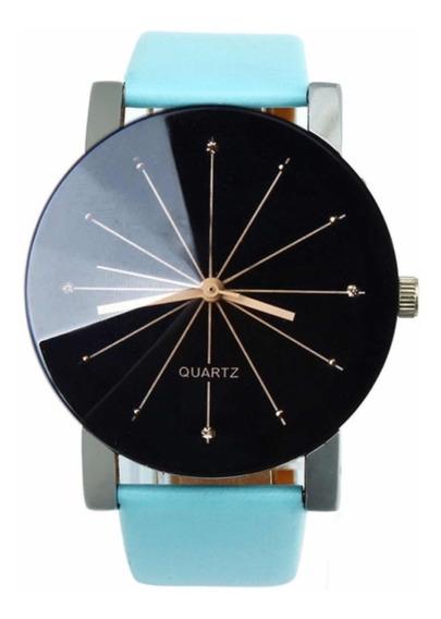 Relógio Quartz Pulseira Couro Azul Luxo