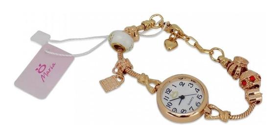 Relógio Feminino Aço Maria Analógico Estilo Pulseira Tr1r