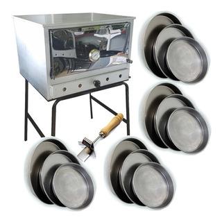 Horno Pizzero A Gas 12 Moldes Fte Acero Base Apoyo + Moldes