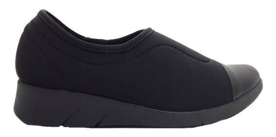 Zapatillas Mujer Lycra Soft Negro Con Puntera Comfortflex