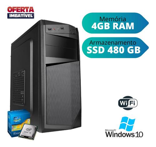 Cpu Desktop Pc Home Core I3 4gb Ram Ssd 480 Win10 Pró Dvd