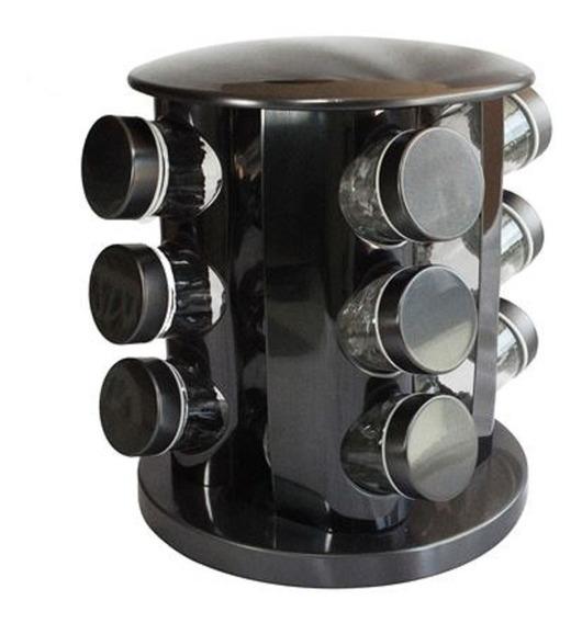 Especiero Giratorio De Acero Negro Con 12 Frascos De Vidrio