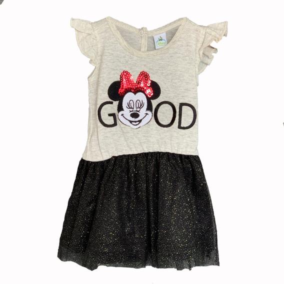 Vestido Algodón Con Bordado Disney Minnie