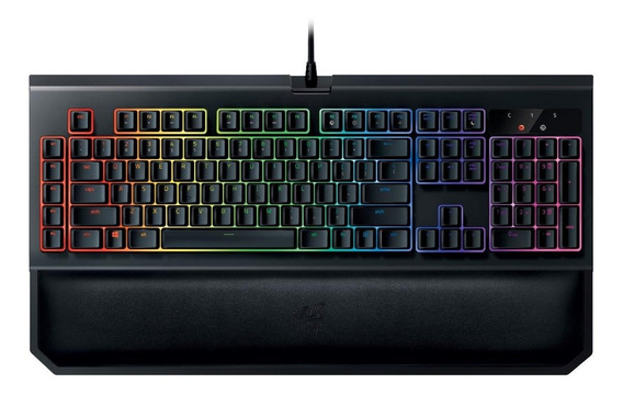Teclado para pc QWERTY Razer BlackWidow BlackWidow Chroma V2 Razer Yellow inglês US preto com luz RGB