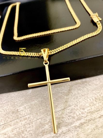 Correntinha Cordão Colar 2mm Pitbul Com Pingente Masculino Fino Promoção Barato 70cm Banhado A Ouro 18k 750