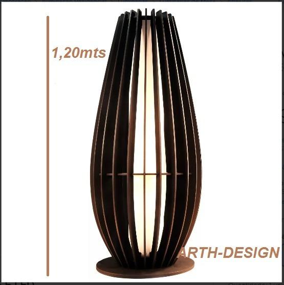 Luminaria Abajur De Chão Em Madeira C/ Soquete E-27 35x120cm