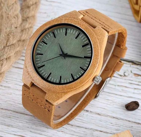 Relógio Analógico De Madeira Unissex De Bambu
