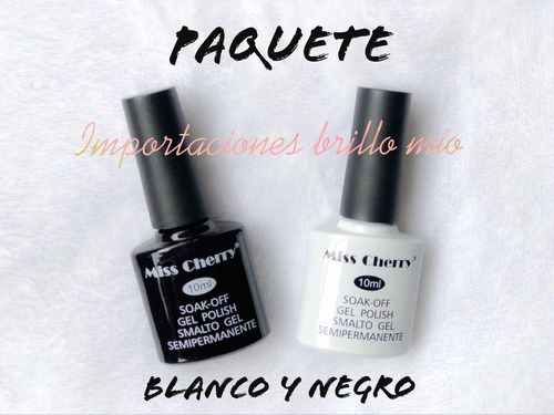 Imagen 1 de 2 de Paquete Gel Uv/led Miss Cherry De 10 Ml Blanco Y Negro