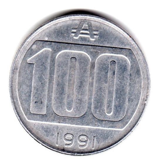 Moneda Argentina 100 Australes 1991 Cj#377 Rara