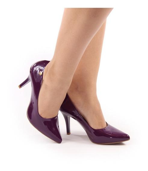 Scarpin Salto Alto Fino Roxo Violeta Escuro Verniz Bico Fino