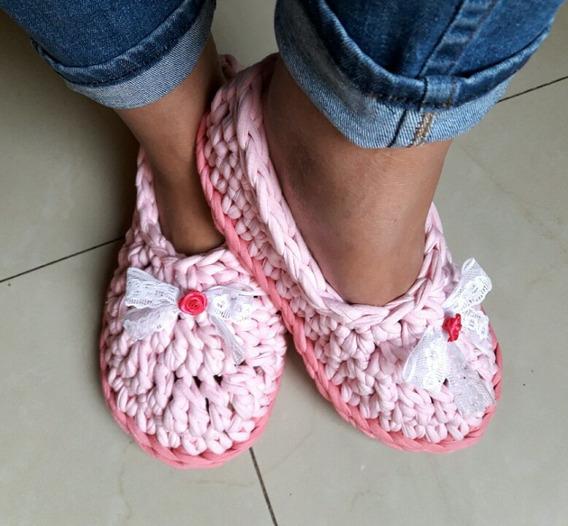 Pantuflas De Trapillo O Totora Tejidas Al Crochet