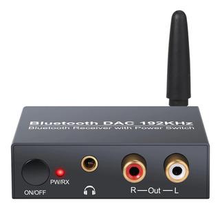 Conversor De Audio Digital A Analógico 192khz Con Receptor Bluetooth Y Control De Volumen 3.5mm Rca Toslink Coaxial
