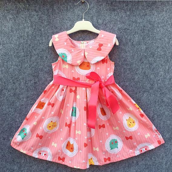 Vestido Infantil Estampado Para Meninas 2, 4, 6 E 8 Anos