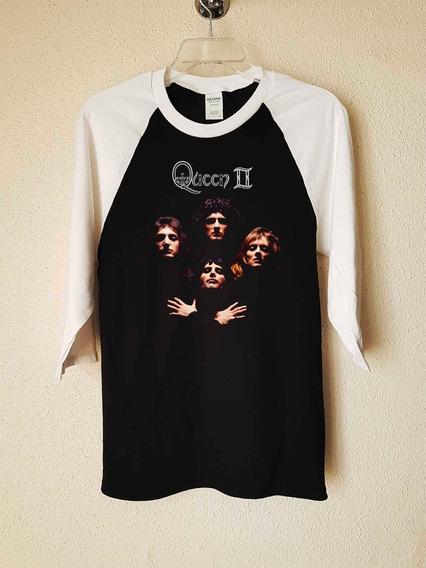 Queen 2 Con Logo Polera 3/4 Rock Abominatron