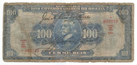 Brasil R-141b, 100 Mil Réis 1929, Autografada, Série 19, Bc