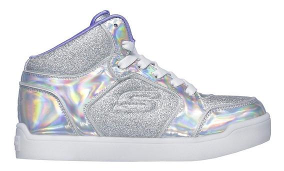 Zapatillas Skechers Para Niñas Con Luces Blanco Rosa Negro