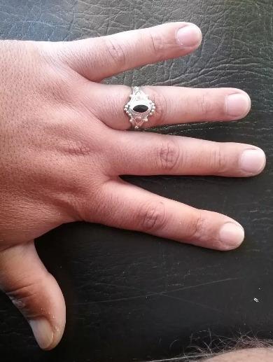 Anel De Prata Lei 950 C/ Ouro E Pedra- Feminino Aro 20