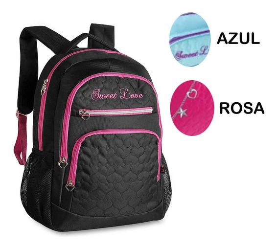 Mochila Sweet Love Estilo Capricho Rosa Pink Preta Azul Femi