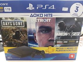 Playstation 4 1 Tb + 3 Jogos + 3 Meses De Plus