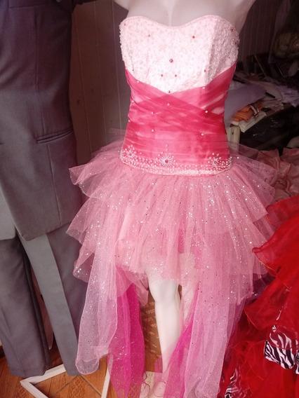 Vestido Rosa Corto Adelante Y Largo Atras