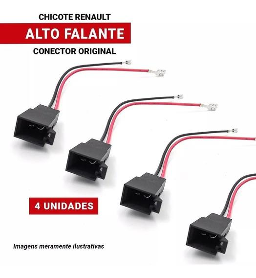 Kit4 Plug Conector Alto Falante Sandero Logan Duster Renault