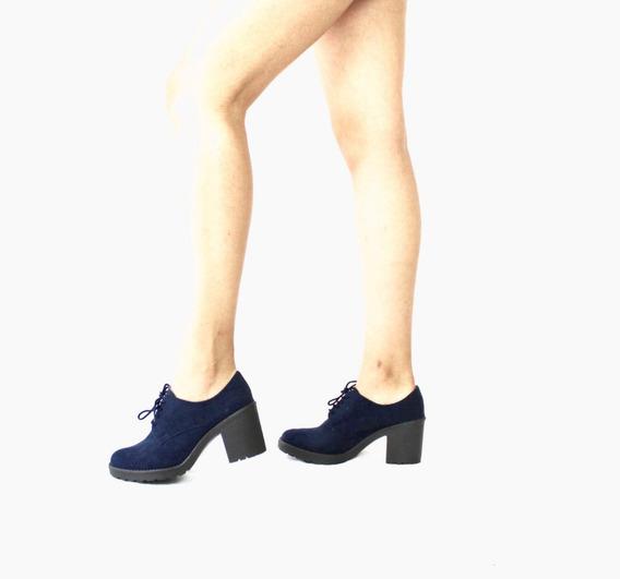 719r Zapato Casual Liz Guerrero Gamuza Negro 6 Cm