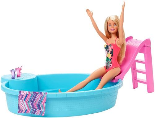 Barbie Rubia Con Piscina Tobogán Y Accesorios Mattel Ghl91