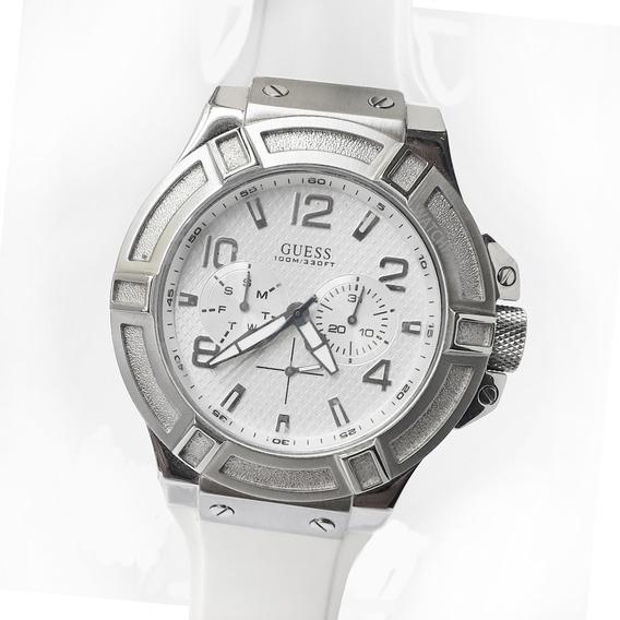 Reloj Guess W0247g1 Multifunción Rigor Silicone White 10 Atm