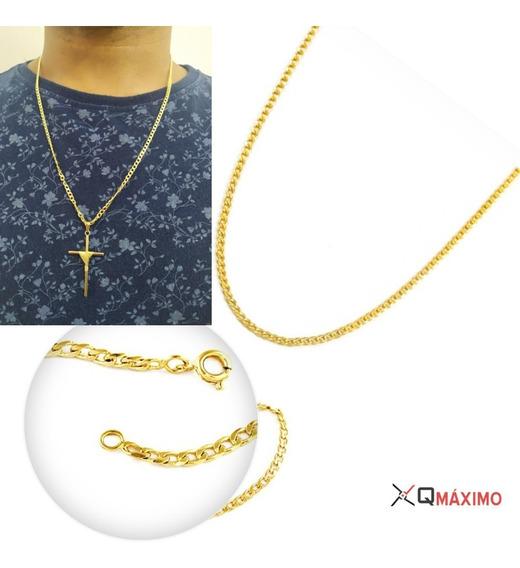 Corrente Banhada A Ouro + Crucifixo + Pulseira - Rm21