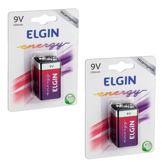 2 Bateria Elgin Recarregável 9v 250mah Até 1000 Recargas