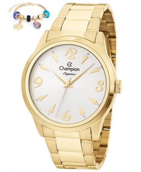 Relógio Feminino Champion Dourado Kit Com Pulseira Cn26304s