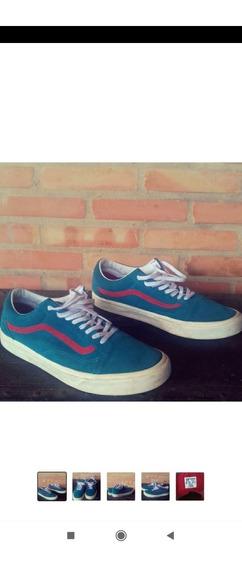 Tênis Vans Couro Azul E Vermelho Original