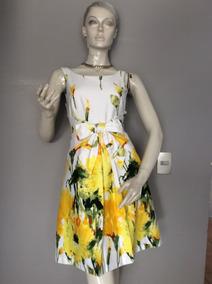 :::. Vestido Blanco Con Flores Amarillas, Talla Xs. ::::