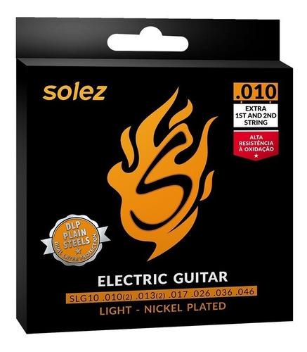 Imagem 1 de 3 de Encordoamento P/ Guitarra Solez 010 C/ 2 Cordas Extra