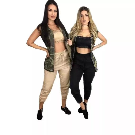 Calça Bomber Jogger Em Linho Roupas Femininas Moda Blogueira