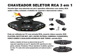Chave Seletora Audio Video 3 X 1 Saida - Chaveador Cabo Rca