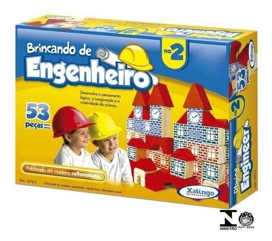 Brincando De Engenheiro 53 Pçs Blocos Madeira 52765 Xalingo