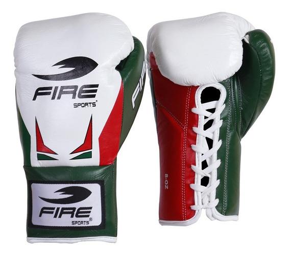 Guantes Box Profesional Fire Sports 8oz 10oz 100% Piel Tri