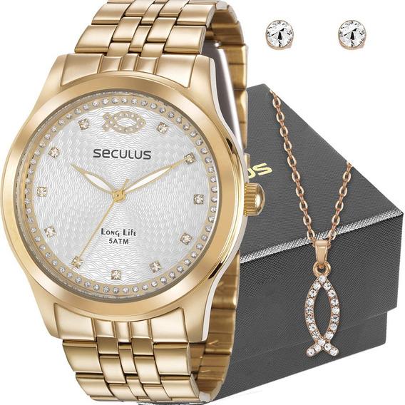 Kit Relógio Seculus Feminino Com Colar E Brincos 28968lpskda